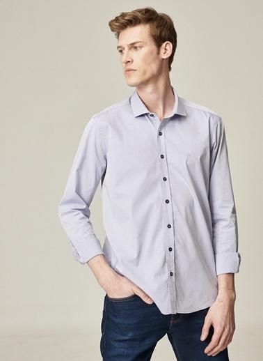 Beymen Business Slim Fit Armürlü Gömlek 4B2021100109 Mavi